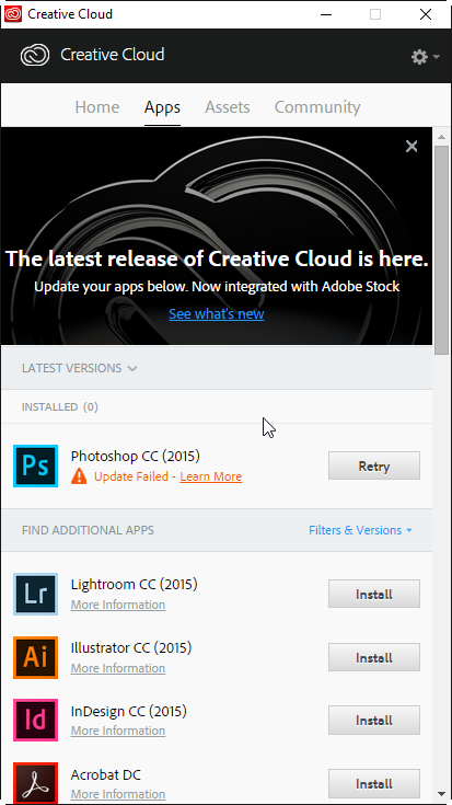Creative Cloud Update Failed U44M1I210