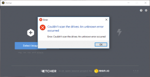 Etcher Error